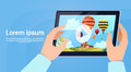 Hand Holding Modern Tablet Computer Watch Video Of Colorful Air Balloons Flying In Sky
