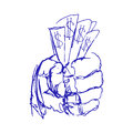 Hand Holding Money. Sketch or Doodle Hands with Money. Vector Illustration