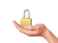 Hand holding padlock security concept image of locked on white background Royalty Free Stock Images