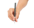 Hand holding a pen on white background with clipping path Royalty Free Stock Photos