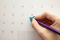 Hand holding pencil on calendar for making appointment importa