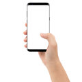 Hand holding phone mobile isolated on white background Royalty Free Stock Photo