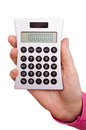 Hand is holding a pocket calculator Stock Image