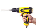 Hand holding power drill cordless Stock Photo