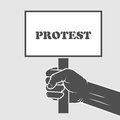 Hand holding protest poster - strike concept Royalty Free Stock Photo