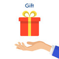 Hand holding red gift box with yellow bow. Flat style vector