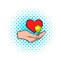 Hand holding red heart icon, comics style Royalty Free Stock Photo