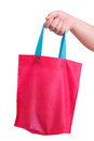 Hand holding reusable bag closeup isolate on white clipping path Royalty Free Stock Photo