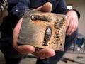 Hand holding scrap Royalty Free Stock Photo