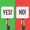 Hand holding sign Yes and No Royalty Free Stock Photo
