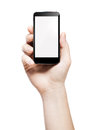 Hand holding a smart phone with blank screen Royalty Free Stock Photo