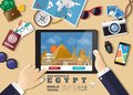 Hand holding smart tablet booking travel destination.Egypt famous places.Vector concept banners in flat style with the set of Royalty Free Stock Photo