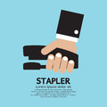 Hand holding a stapler vector illustration Royalty Free Stock Photography
