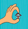 Hand holding tiny house cartoon illustration of a securing a Royalty Free Stock Photos