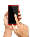Hand holding and Touch on Red Smartphone Royalty Free Stock Photo