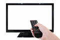 Hand holding TV remote with LED TV and blank screen isolated on