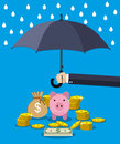 Hand holding umbrella under rain to protect money. Royalty Free Stock Photo