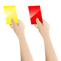 Hand holding up the red card and yellow card on white background Stock Photos