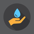 Hand holding water drop flat icon. Round colorful button, circular vector sign with long shadow effect. Royalty Free Stock Photo