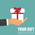 Hand holding white gift box with red bow. Flat style