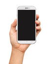 Hand holding white smartphone with blank screen on white background Royalty Free Stock Image