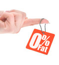 Hand holding zero percent fat tag isolated on white Stock Photos