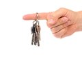 Hand holds bunch of keys white background Stock Photo