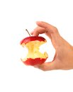 Hand holds core of an apple white background Stock Photography