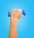 Hand holds a dumbbell female on blue background Royalty Free Stock Image