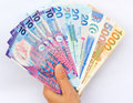 Hand with hong kong dollars Royalty Free Stock Photo