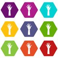 Hand icon set color hexahedron