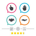 Hand icons. Handshake and click here symbols. Royalty Free Stock Photo