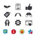 Hand icons. Like thumb up and insurance symbols.