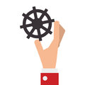 hand with industrial wheel cog gear Royalty Free Stock Photo