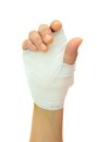 Hand injury with white medicine bandage Royalty Free Stock Photos