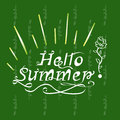 Hand Inscription lettering hello summer on a green background wi