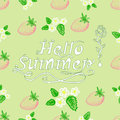 Hand Inscription lettering hello summer with strawberries and fl