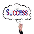 Hand isolate pencil idea  write red success illustration. Royalty Free Stock Photo