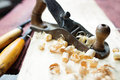 Hand jack plane and wood chips Royalty Free Stock Photography