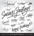 Hand lettered holiday greetings set (vector) Royalty Free Stock Photo