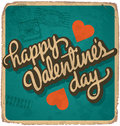 Hand-lettered vintage valentines card Stock Photography