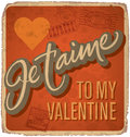 Hand-lettered vintage valentines card Stock Photo