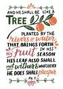Hand lettering with Bible verse And he shall be like a tree. Psalm Royalty Free Stock Photo