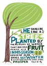 Hand lettering with Bible verse He shall be like a tree. Psalm 1 Royalty Free Stock Photo