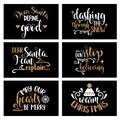 Hand lettering Christmas card collection with joyful quotes