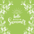Hand lettering inspirational poster Hello Summer. Vector fun quote illustration in floral frame on green background. Royalty Free Stock Photo