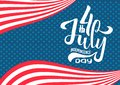 Hand lettering July 4th Independence Day USA. hand drawn Calligraphic type lettering composition of 4th of July design. For