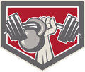 Hand lifting barbell and kettlebell shield illustration of a weights viewed from front set inside crest on isolated background Stock Photos
