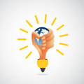 Hand lightbulb holding earth environmental power concept Stock Photography