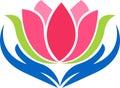Hand lotus logo Royalty Free Stock Photo
